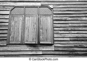 viejo, casa de madera, pared, con, de madera, ventana., textura, plano de fondo