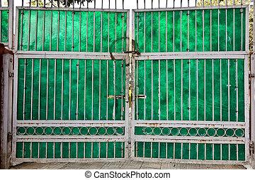 viejo, casa, delhi, céntrico, cerrado, puerta