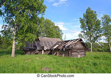 viejo, casa, en, abandonado, aldea