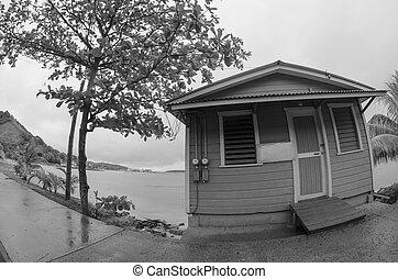 viejo, casa pequeña, delante de, el, mar, fisheye, vista
