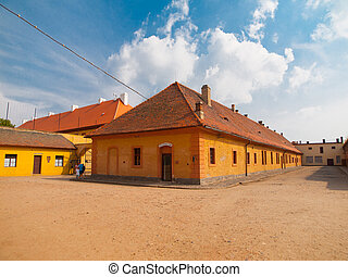 viejo, casas, en, terezin, campo de concentración, república checa
