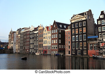 viejo, casas, histórico, amsterdam, países bajos, europe.