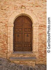 viejo, castillo, madera, puerta, gradara
