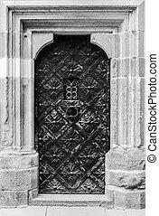 viejo, castillo, puerta