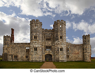 viejo, castillo, ruina, en, inglaterra