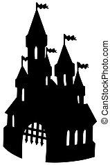 viejo, castillo, silueta