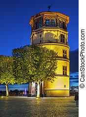 viejo, castillo, torre, dusseldorf, alemania