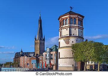 viejo, castillo, torre, y, lambertus de st, iglesia, dusseldorf