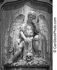 viejo, cementerio, ángel, escultura