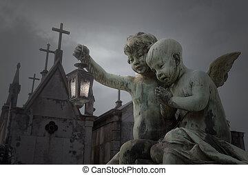 viejo, cementerio, ángeles