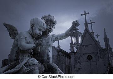 viejo, cementerio, ángeles, estatuas