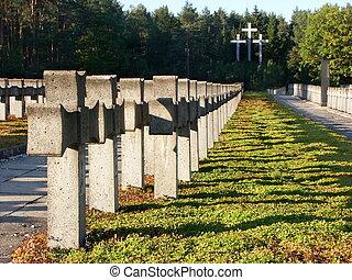 viejo, cementerio militar, en, palmiry, polonia
