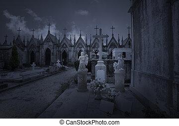viejo, cementerio, por la noche