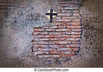 viejo, cementerio, wall.