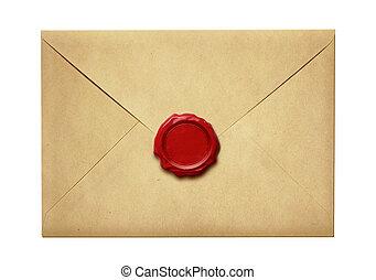 viejo, cera, sobre, aislado, sello, correo