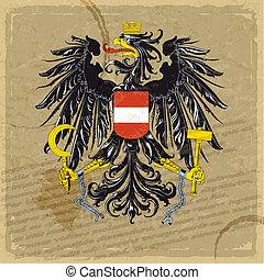viejo, chamarra, brazos, austria, papel, hoja