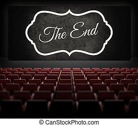 viejo, cine, pantalla película, retro, fin