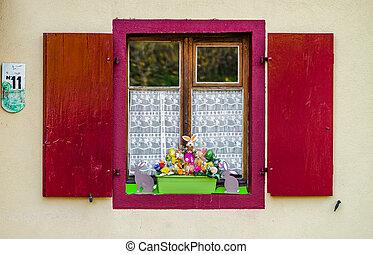 viejo, clásico, windows, casa, alsacien, adornado