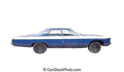 viejo, coche azul, aislado, blanco