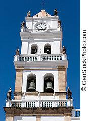 viejo, colonial, iglesia, en, sucre, bolivia.