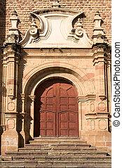 viejo, colonial, iglesia, sucre, bolivia.