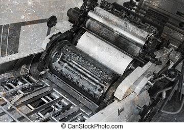 viejo, compensación, imprenta