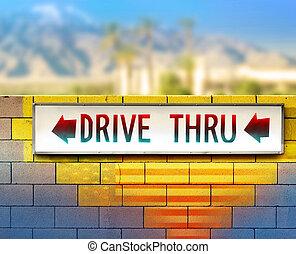 viejo, conducir-por, señal