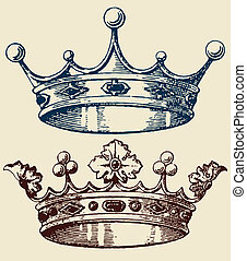 viejo, conjunto, corona