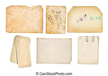 viejo, Conjunto, fondos, aislado, alto, papel, blanco, resolución