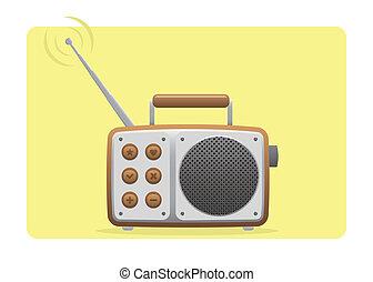 viejo, conjunto, radio, receiving