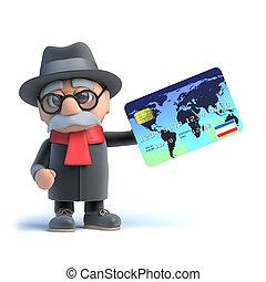 viejo, credito, utilizar, 3d, tarjeta, hombre