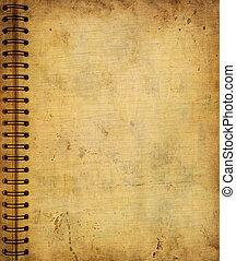 viejo, cuaderno, grunge, página