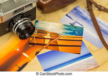 viejo, cuadros, colorido, de madera, superficie, cámara,...