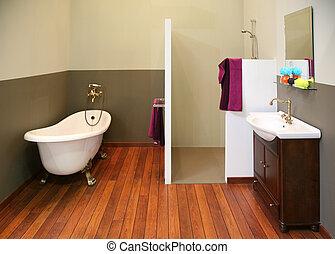 viejo, cuarto de baño