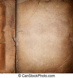 viejo, cubierta, con, papel roto, plano de fondo