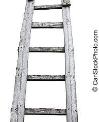 viejo, cuve, de madera, vendimia, escalera, aislado, blanco,...