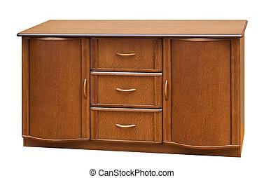 viejo, de madera, aislado, stile, blanco, bureau.