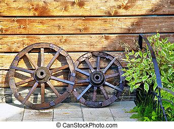 viejo, de madera, carrito, con, pasto o césped, en, título,...