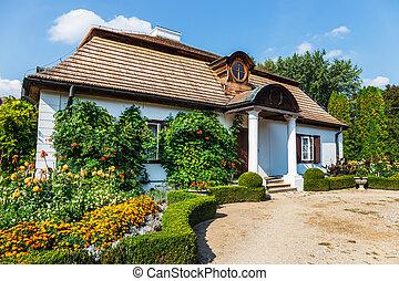 viejo, de madera, casa de señorío, en, lublin, polonia
