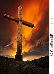 viejo, de madera, cruz