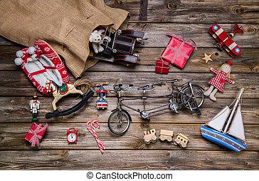 viejo, de madera, -, decoración de navidad, niños, juguetes de la lata, vint