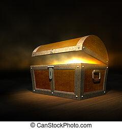 viejo, de madera, dentro, pecho de tesoros, fuerte, brillo