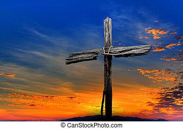 viejo, de madera, encima, cruz, dramático, ocaso