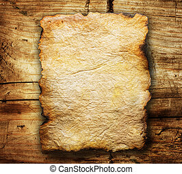 viejo, de madera, encima, papel, plano de fondo, hoja