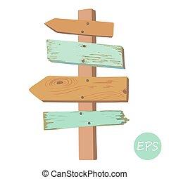 viejo, de madera, poste indicador