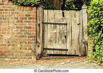 viejo, de madera, rústico, pared, puerta, ladrillo