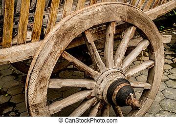 viejo, de madera, rueda