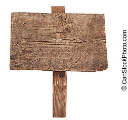 viejo, de madera, signo., aislado, señal, madera, white., tablones
