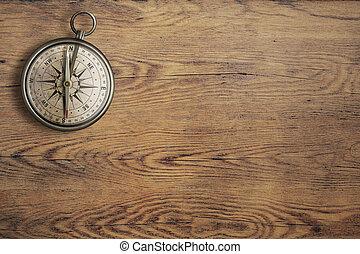 viejo, de madera, vendimia, cima, compás, tabla, vista