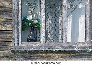 viejo, de madera, ventana